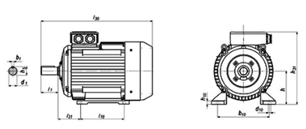 Присоединительные размеры электродвигателя АИР
